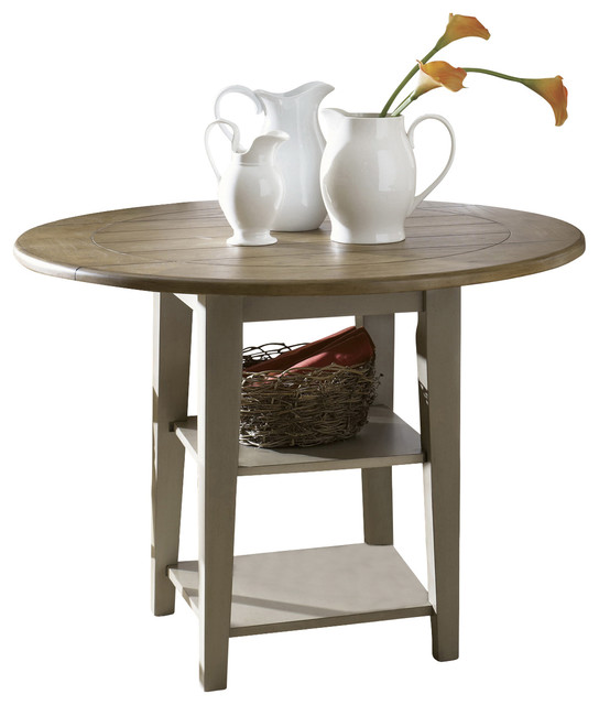 Drop Leaf Round Casual Dining Table Driftwood Taupe Finish Farmhouse Dining Tables By