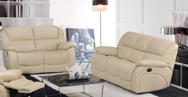 Velia Italian Leather Reclining Sofa Set