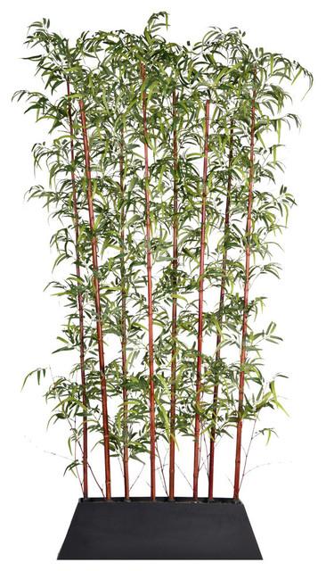 "96"" Tall Burgundy Bamboo Screen Artificial Greenery in Pot - Kd"