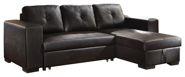 Stupendous Acme Lloyd Sectional Sofa With Sleeper Black Faux Leather Dailytribune Chair Design For Home Dailytribuneorg
