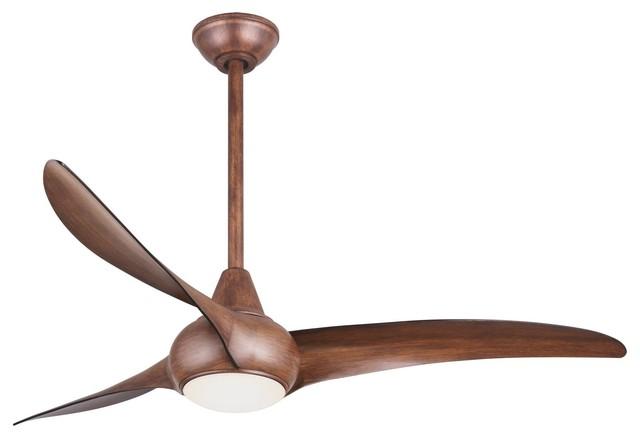 Light Wave Ceiling Fan, Distressed Koa Transitional Ceiling Fans