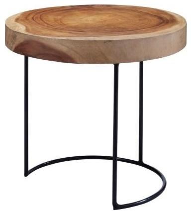 Suar Wood Slab Accent Table.