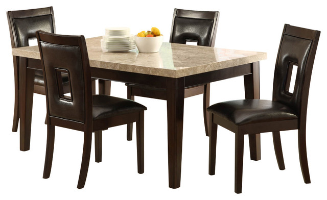 Homelegance Hahn 5-Piece Marble Top Dining Room Set, Espresso
