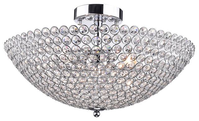 Edvivi corona 3 light chrome finish crystal bowl shaped flush corona 3 light chrome finish crystal bowl shaped flush mount chandelier contemporary flush mozeypictures Gallery