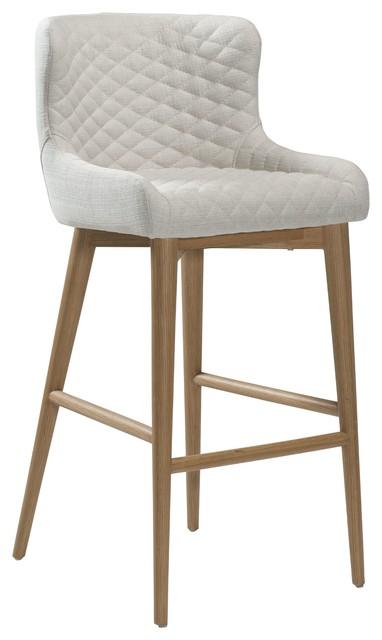 Dan Form Vetro Upholstered Bar Stool With Wooden Legs Cream And Oak Scandinavian
