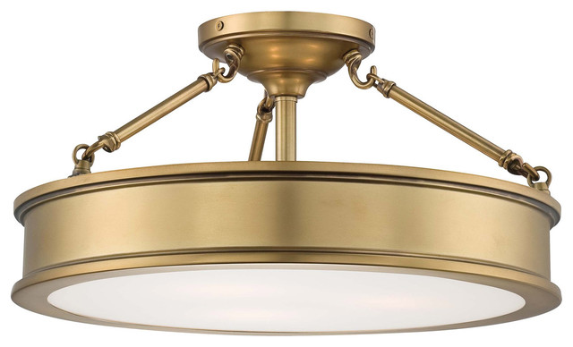 Harbour Point 3-Light Semi-Flush Mounts, Liberty Gold.