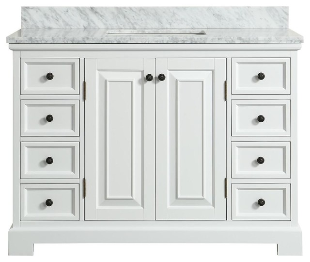 Spencer White Bathroom Vanity - Traditional - Bathroom Vanities And Sink Consoles - by Houzz