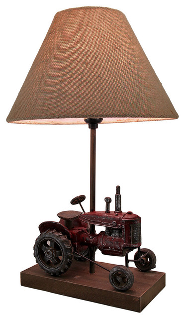 Red Antique Finish Vintage Farm Tractor Table Lamp w/Burlap Fabric Shade 20  In