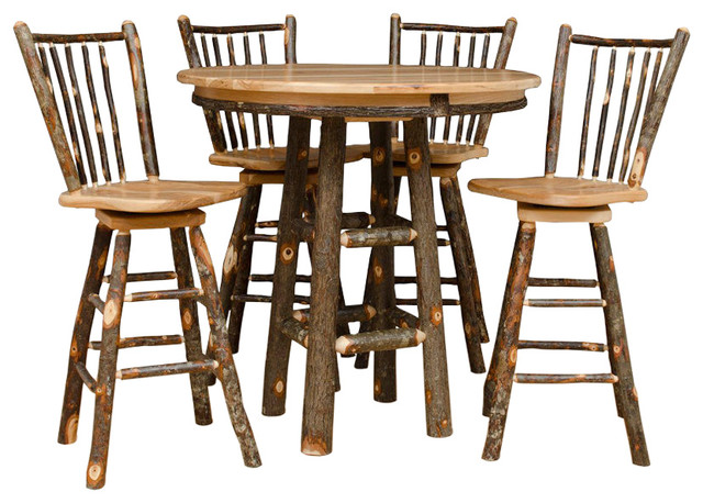 36 Quot Round Pub Table With 4 Swivel Bar Stools 5 Piece Set