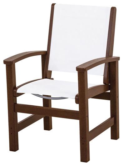 Polywood Polywood 9010 Ma901 Coastal Dining Chair Mahogany White Sling Reviews Houzz