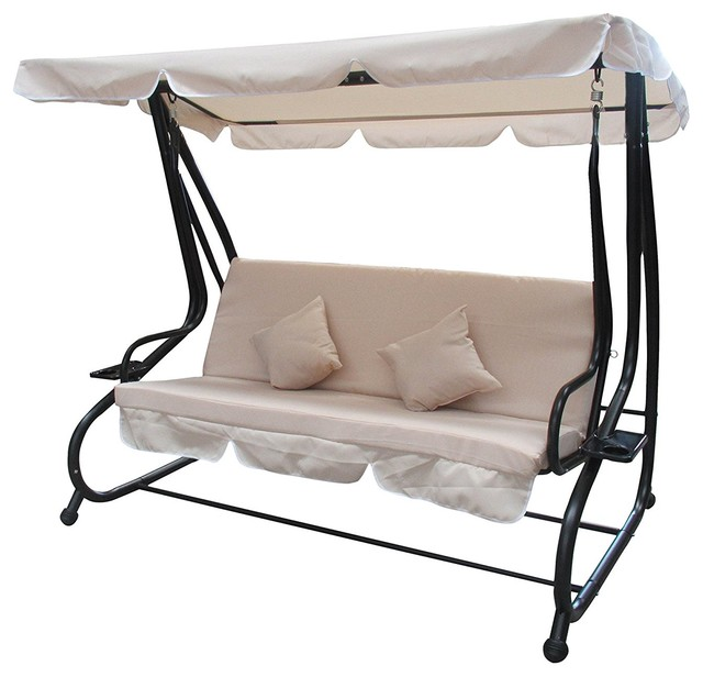 Aleko Canopy Patio Swing Bench With Pillows And Cup Holders Beige