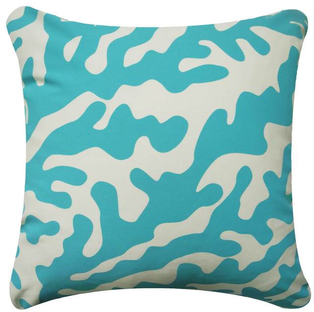 Coral Modern Eco Coastal Throw Pillow - Beach Style - Decorative Pillows - by Wabisabi Green