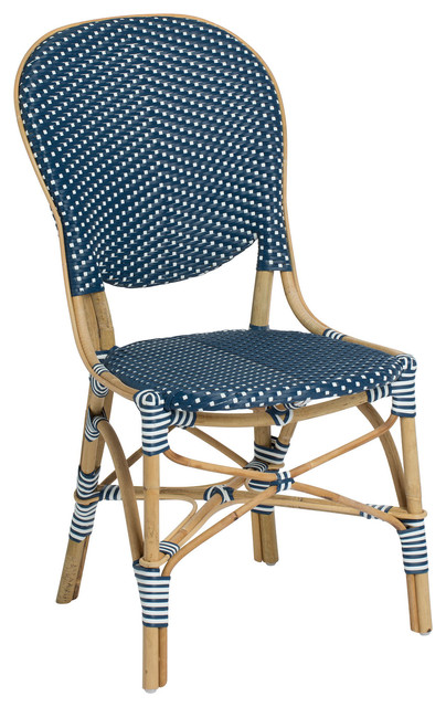 Isabell Outdoor Bistro Side Chair, Navy And White