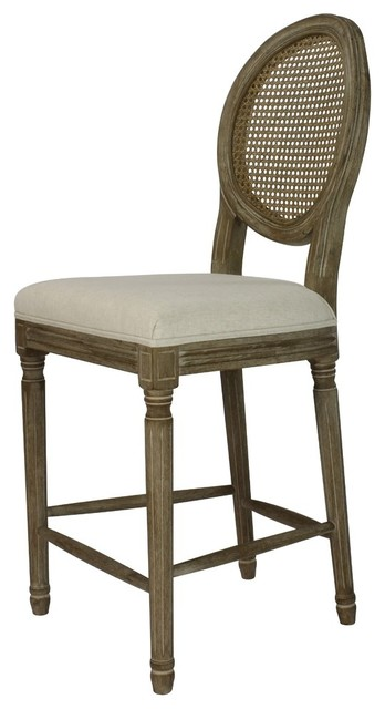 Louis Weathered Upholstered Round Counter Chair, Set of 2, Cane