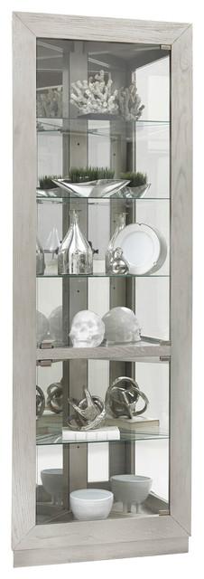 Asymmetrical Two Door Corner Curio, White Corner Curio Cabinet With Glass Doors