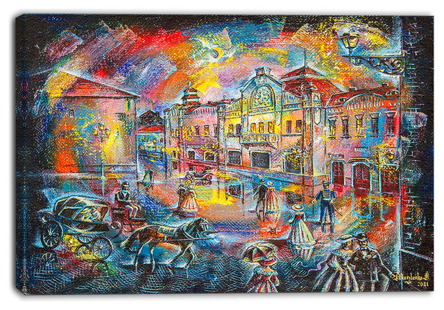 """""""Night City With People"""" Cityscape Canvas Artwork, 40""""x30"""""""