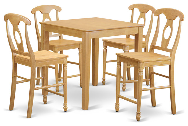 dining table set 5 pieces oak traditional indoor pub and bistro sets