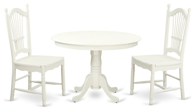 3-Piece Set With a Round Dinette Table and 2 Wood Dinette Chairs, Linen  White