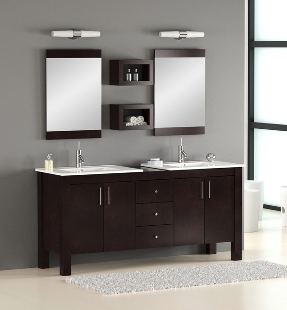 Brilliant Adorna 72 Inch Transitional Double Sink Bathroom Vanity Set