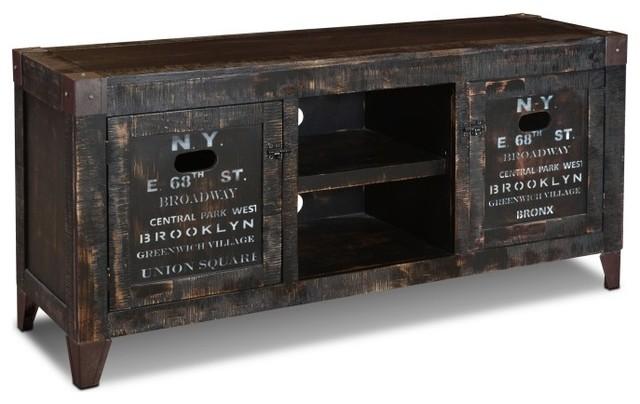 Perfect Reclaimed Wood Graffiti TV Stand