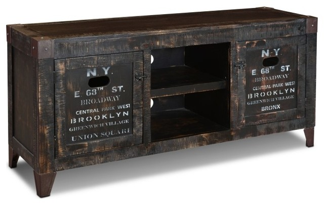 Reclaimed Wood Graffiti Entertainment Console  industrial-entertainment-centers-and-tv-stands - Reclaimed Wood Graffiti Entertainment Console - Industrial