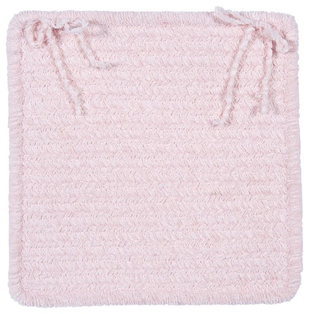 Braided Simple Chenille Chair Pad, Pink, Square 15 - Set Of 4.