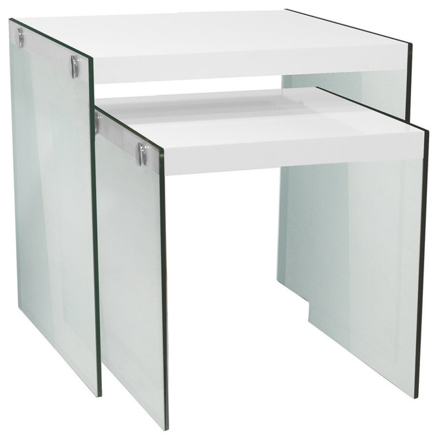 Nesting Tables, 2 Piece Set, Glossy White, Tempered Glass Contemporary  Coffee
