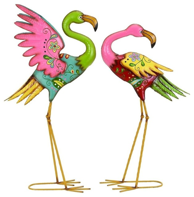 Great Footloose And Fancyfree Garden Flamingos, Set Of 2 Modern Garden Statues And