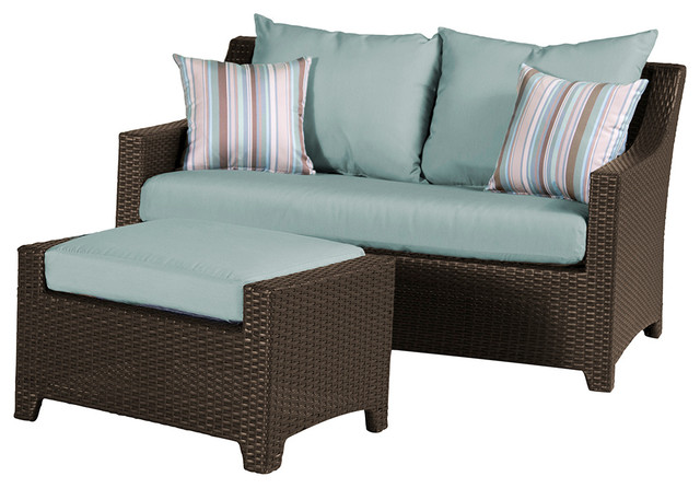 Deco loveseat and ottoman set contemporary outdoor lounge sets by rst outdoor - Deco lounge chique modern ...