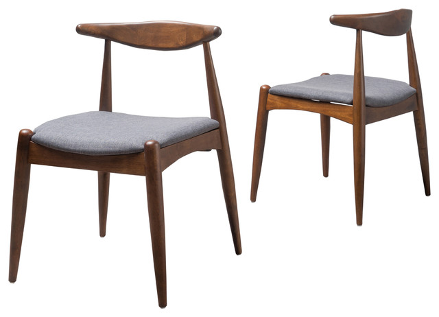 Sandra Mid Century Modern Dining Chairs, Set of 2, Charcoal/Walnut  midcentury-