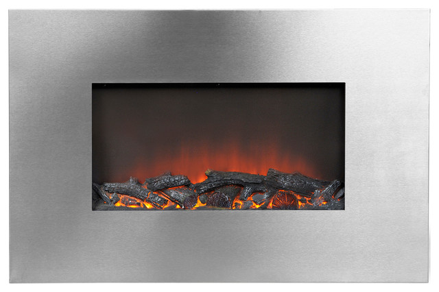 Homestar 35 Wide Wall Mount Firebox, Silver.