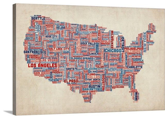 United States Cities Text Map, US Colors on Parchment Wrapped Canvas Art Pr