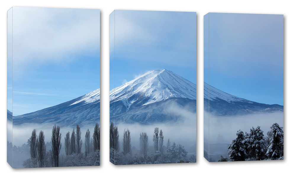 Mount Fuji Japan During Winter 3 Panel Canvas Print Wall Art Contemporary Prints And Posters By Canvas Quest Houzz