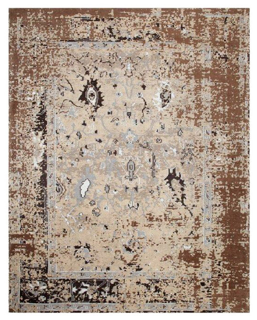 Aldey Brown Pixel Camo Cotton Rug, 8&x27;x10&x27;.