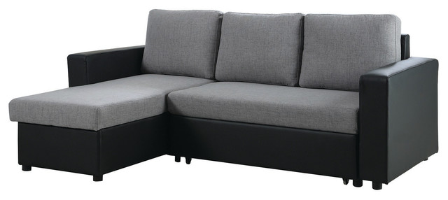 Gray Fabric/Black Leatherette Sectional Sofa Bed Reversible Storage Chaise  Contemporary Sectional Sofas