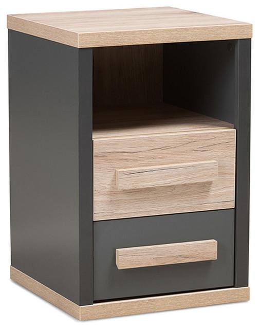 Urban Designs Pandora Dark Grey And Light Brown Two-Tone 2-Drawer Nightstand.