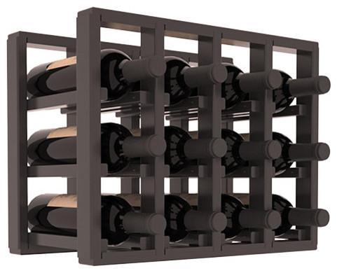 Pine 12-Bottle Countertop Wine Rack, Black Stain/Satin Finish
