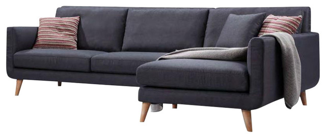 Mid Century L Shaped Sectional Sofa Navy Blue Grey Linen