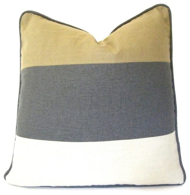 Gray Tan And White Pillow Cover Color Block Pillow
