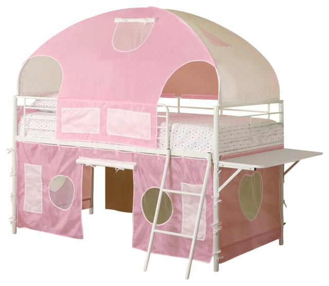 Coaster Youth Twin Tent Loft Bed, Pink And White.