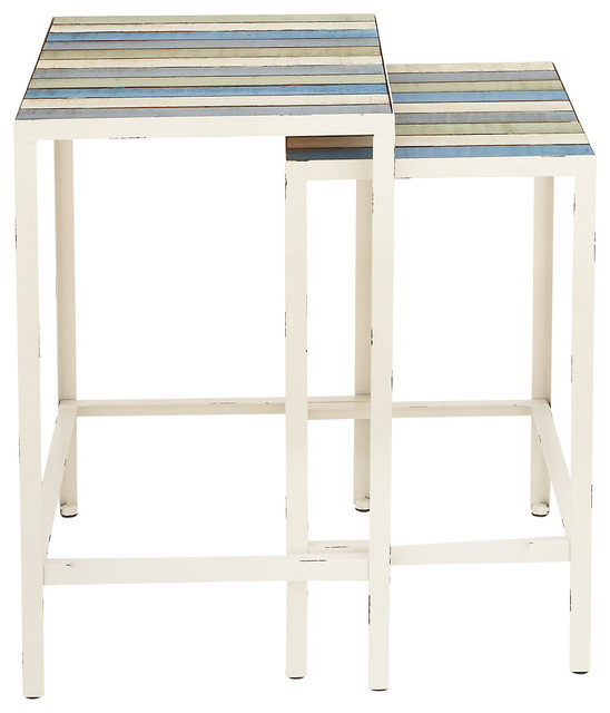 "Metal Wood Accent Tables, 2-Piece Set, 24""x26""."