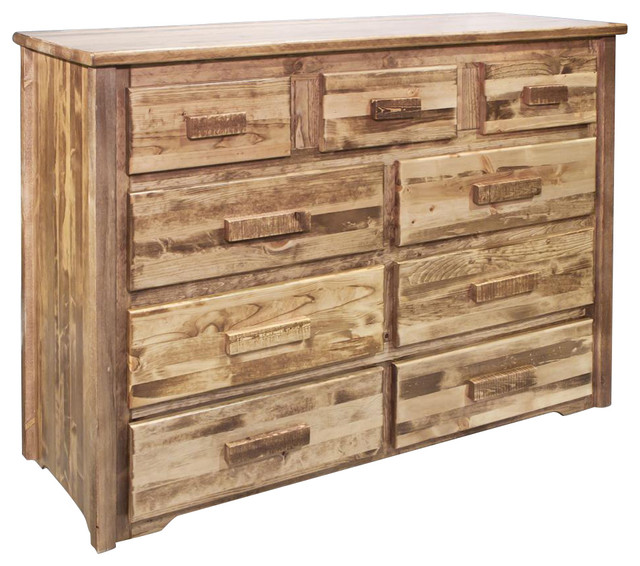 9-Drawer Dresser In Stained And Lacquered Finish.