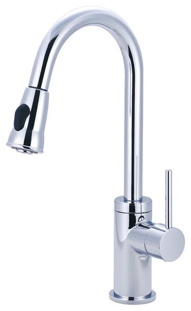 Motegi Single Handle Pull-Down Kitchen Faucet, Polished Chrome