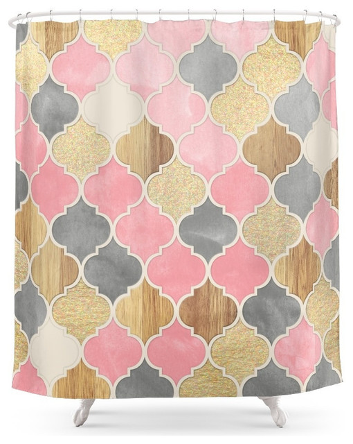 pink and gold shower curtain. Society6 Silver Gray  Soft Pink Wood and Gold Moroccan Pattern Shower Curtain mediterranean