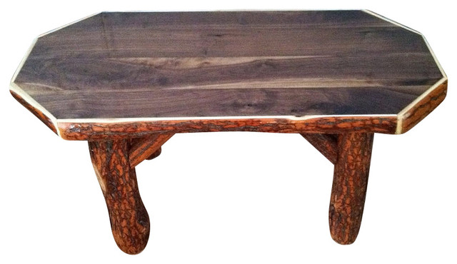 Rustic Sassafras Octagon Coffee Table With Walnut Top Rustic Coffee Tables