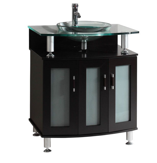 30 Belvedere Modern Espresso Bathroom Vanity With Tempered Glass