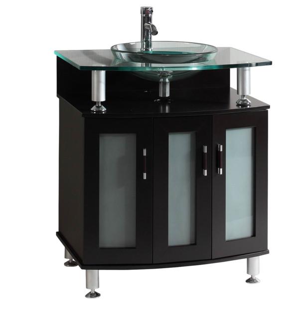 "30"" belvedere modern espresso bathroom vanity with tempered glass"