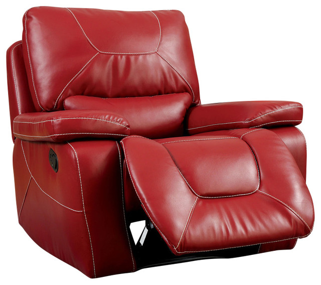 Red Leather Reclining Chair newburg bonded leather match white stitching black glider recliner