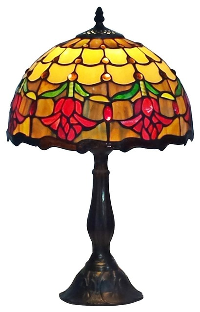 Amora Lighting Tiffany Style Tulips Table Lamp 19 Inches Tall