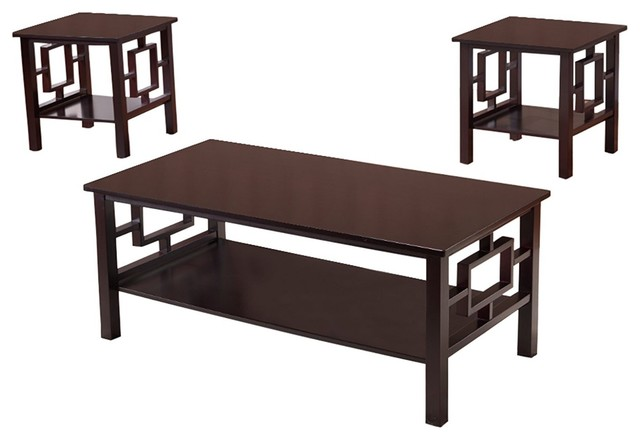 Fanchon 3 Piece Wood Coffee Table And End Tables Set Cherry